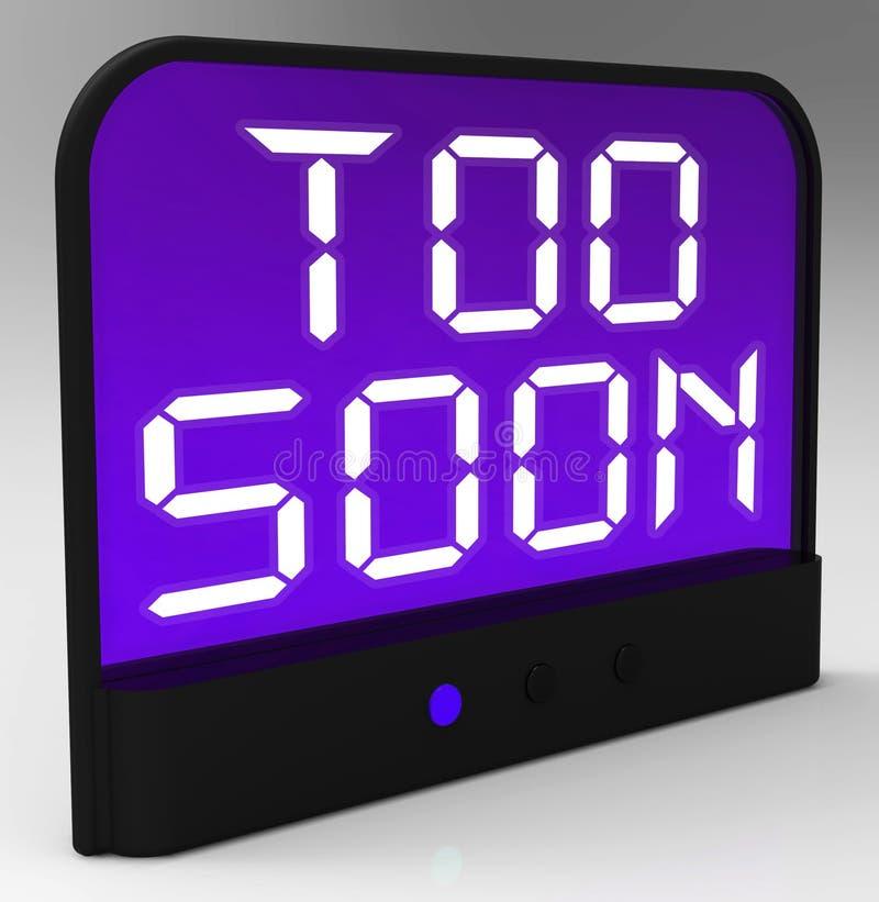 Demasiado pronto el reloj muestra prematuro o antes de tiempo stock de ilustración