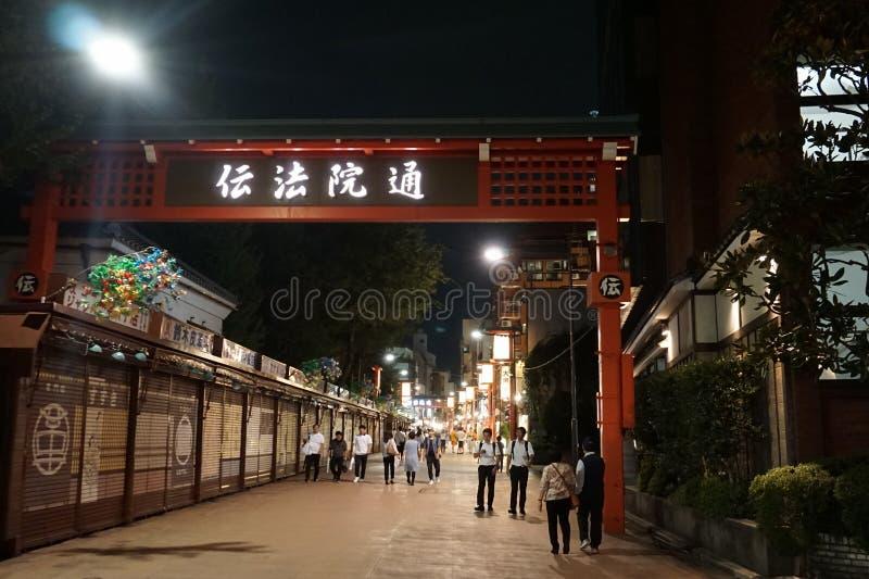 Demboin-dori街:那里在江户时代期间的街景画 库存图片