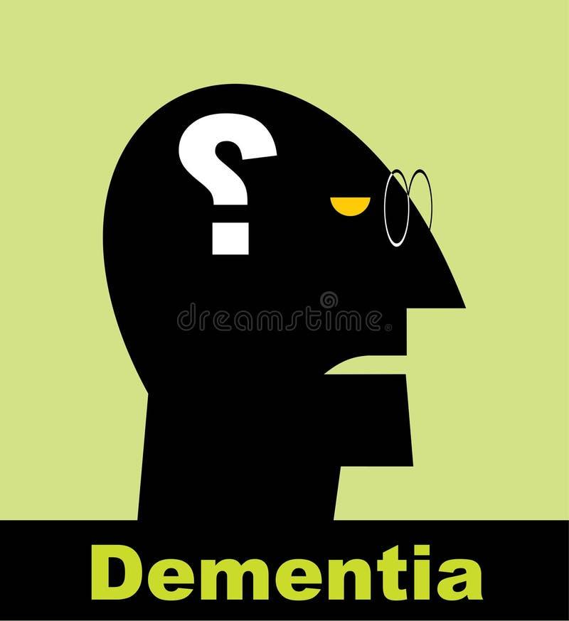 demencia alzheimer Signo de la cabeza y de interrogación imagenes de archivo