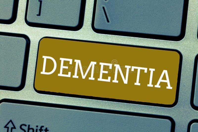 Demencia del texto de la escritura Debilitación del significado del concepto en pérdida de memoria de enfermedad de cerebro de fu ilustración del vector