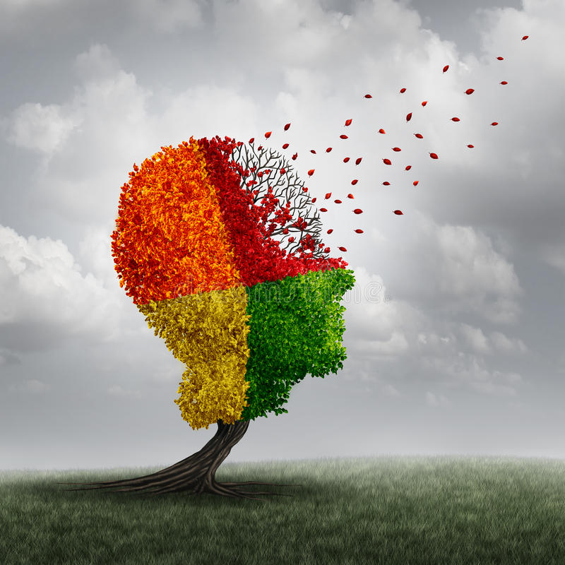 Demens Brain Loss stock illustrationer