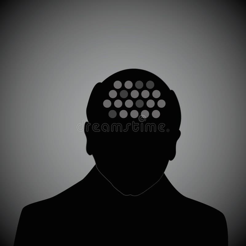Demens för Alzheimers sjukdom för mänskligt huvud för gamal mankontur royaltyfri illustrationer