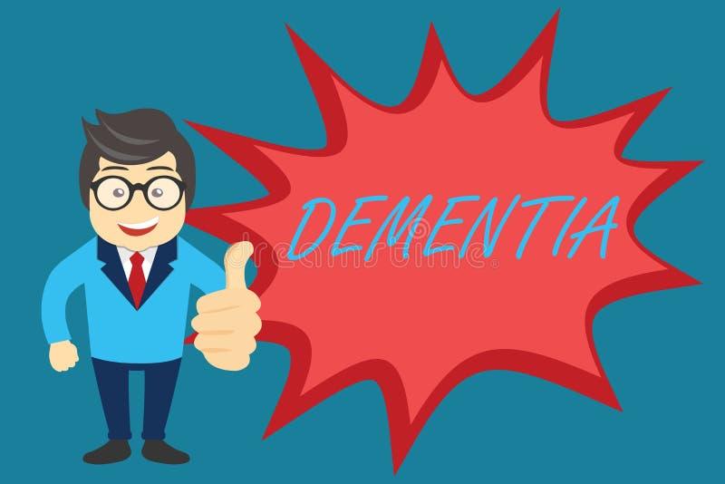 Demens för ordhandstiltext Affärsidé för försämring i minnesförlust av den kognitiva fungera hjärnsjukdomen vektor illustrationer
