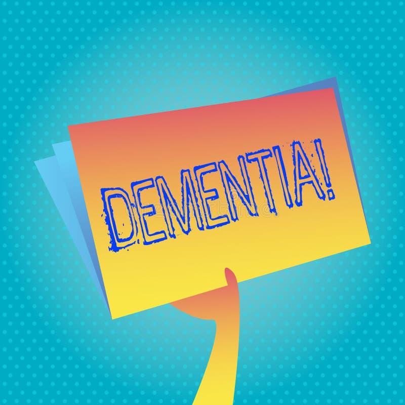 Demens för textteckenvisning Det begreppsmässiga tecknet och tecken för förlust för långsiktigt minne för foto gjorde mig att avg stock illustrationer