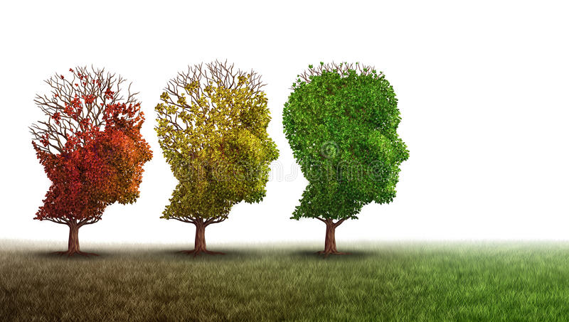 Demens- och mental hälsaåterställning stock illustrationer