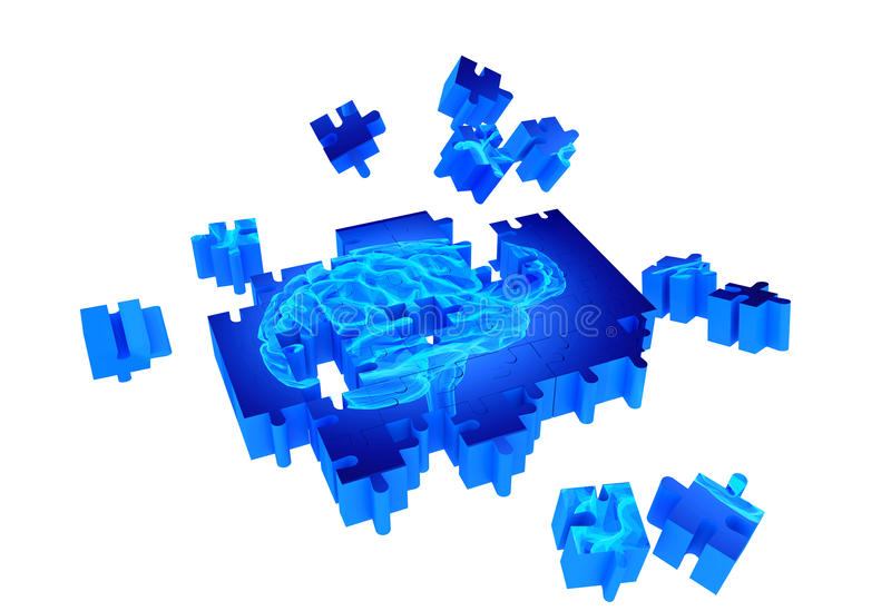 Demenssjukdom och en förlust av hjärnfunktionen och minnen royaltyfri illustrationer