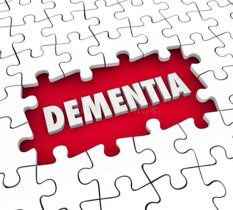 Dementia Puzzle Pieces Hole Aging Memory Loss Alzheimer's Diseas royalty free illustration