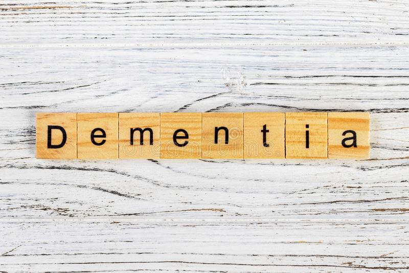 Dementia word made with wooden blocks concept.  stock photography