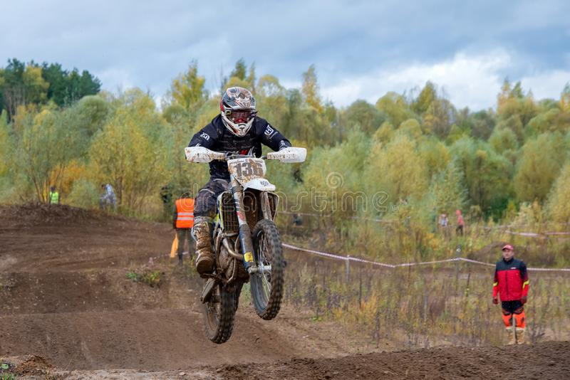 Dementyev Vyacheslav 136. SERPUKHOV, RUSSIA - OCTOBER 7, 2017: Dement`yev Vyacheslav 136, Class Super-sprint absolute, in the 4 stage MX series, the Red Wings royalty free stock photo