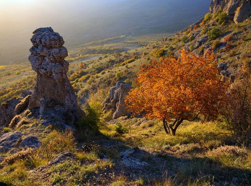 Demerdzhi Rocks in the fall in the evening light. Autumn on Demerdzhi in beautiful evening light stock images