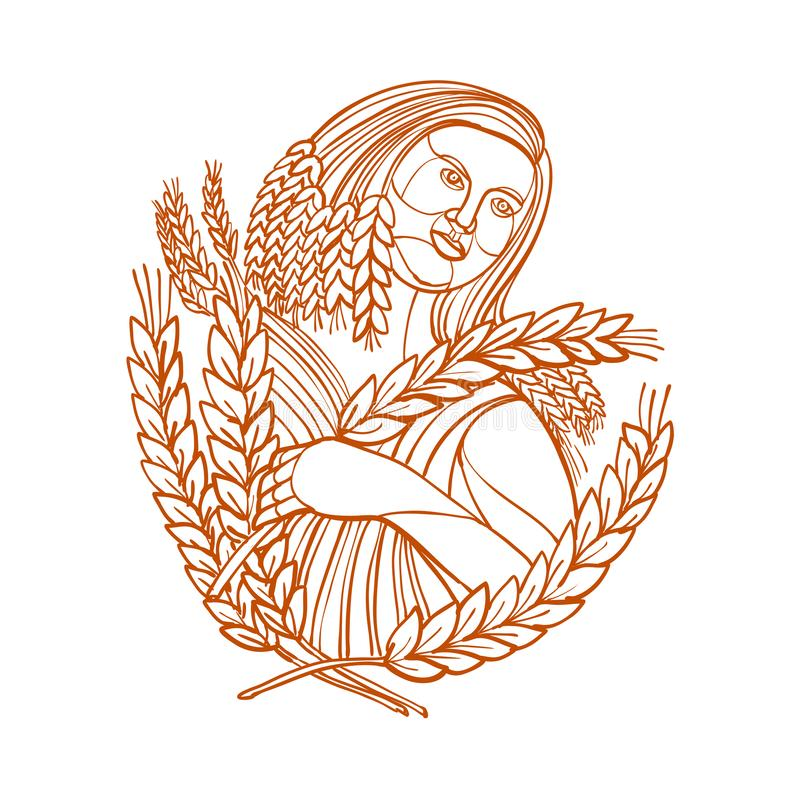 Demeter Goddess of Harvest Mono Line. Mono line illustration of female farmer or Demeter, the goddess of the harvest and presides over grains and the fertility vector illustration