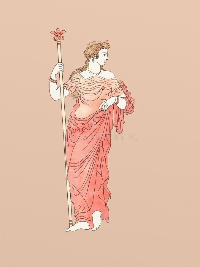 Demeter med spiran som baseras på gammalgrekiskakeramik royaltyfri illustrationer