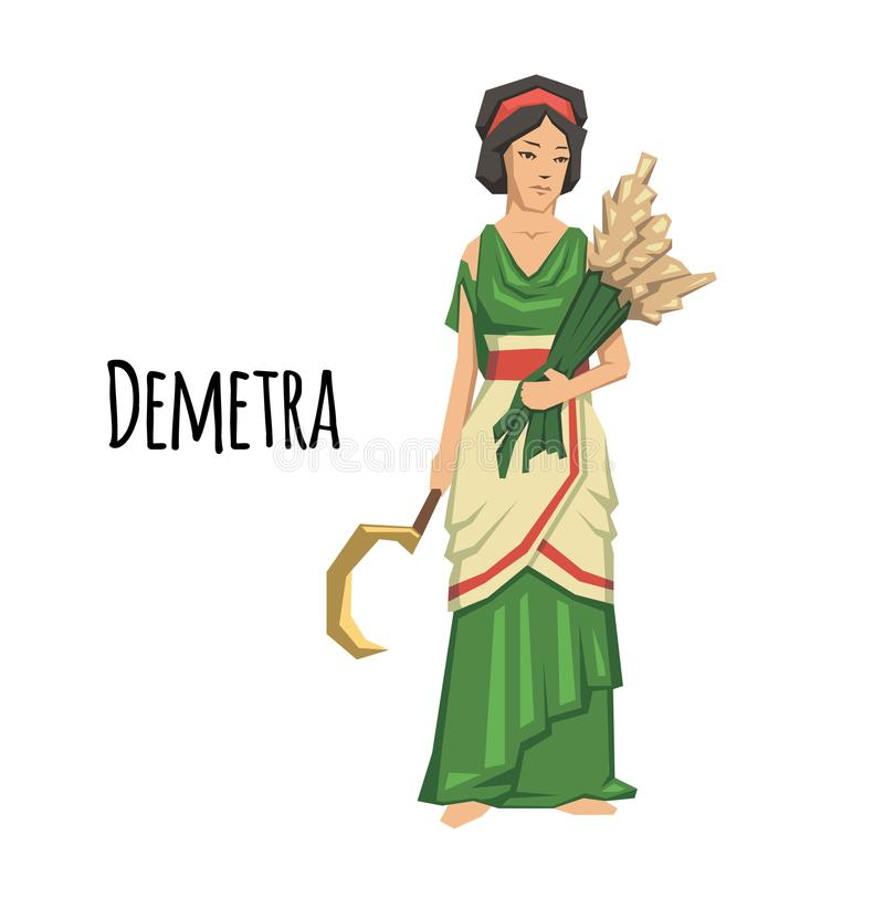 Demetra, goddess of Agriculture. Mythology. Flat vector illustration. on white background. Demetra, goddess of Agriculture. Ancient Greece mythology. Flat vector illustration