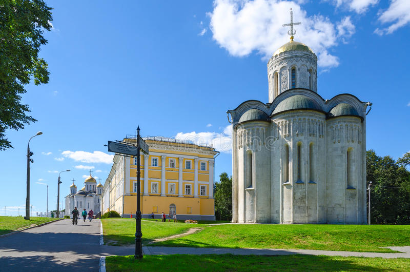 Demetrius and Assumption Cathedral, building of provincial official place, Vladimir royalty free stock photography