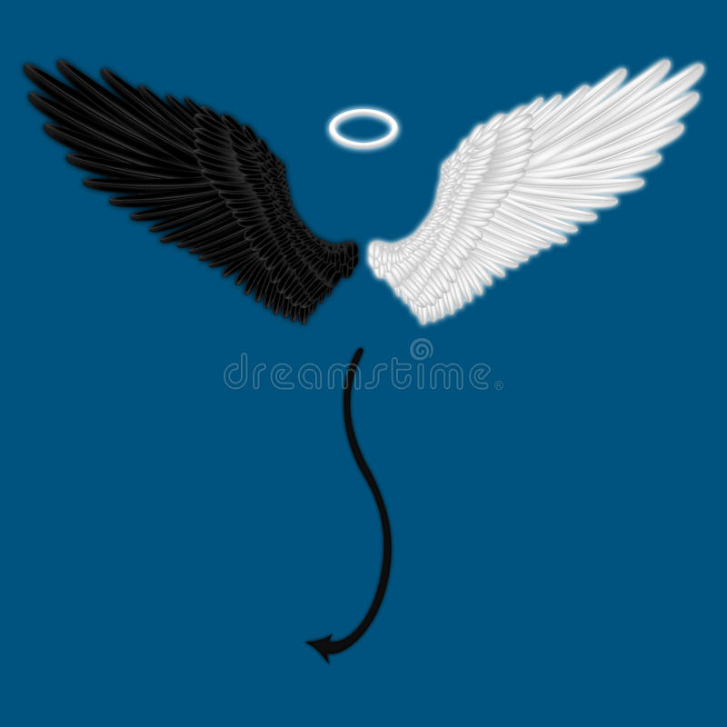 Demi ange et demi ailes de diable illustration stock