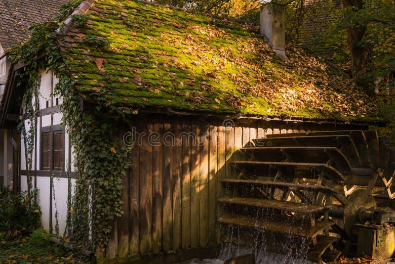 Demi architecture de roue hydraulique de rivière de village de cottage de Chambre de bois de construction photo stock