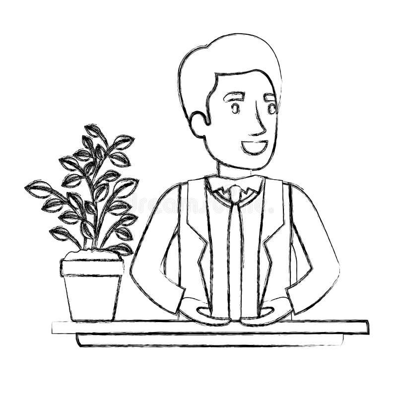Demi assistant brouillé d'homme de corps de silhouette dans le bureau dans le costume formel illustration de vecteur