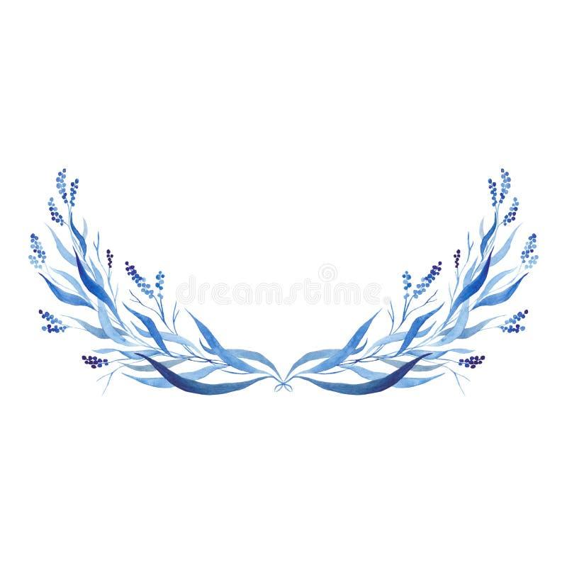 Demi-cercle tiré par la main de bleu d'indigo, illustration de vecteur illustration libre de droits