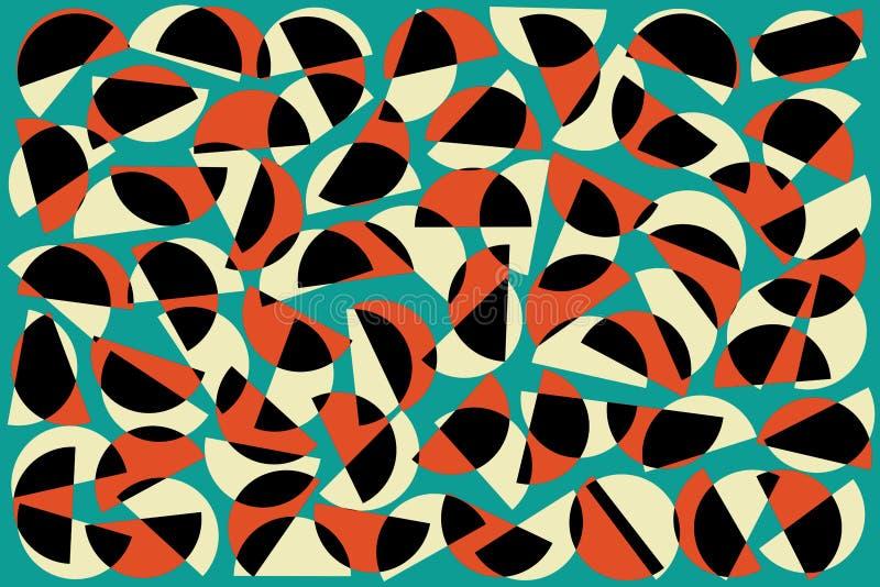 Demi-cercles aléatoires blancs noirs rouges sur le fond bleu Mod?le g?om?trique abstrait de formes dans le r?tro style pour le d? illustration libre de droits