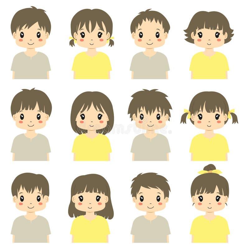 Demi collection de vecteur d'avatar de corps d'enfants mignons illustration de vecteur