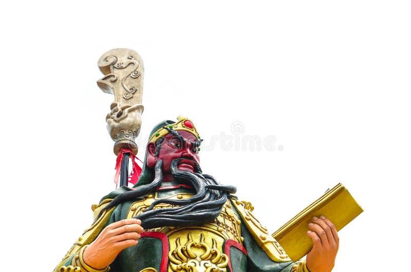 Demi corps de Guan Yu Statue sur le fond blanc, légende chinoise de la statue du ` s d'un dieu images libres de droits