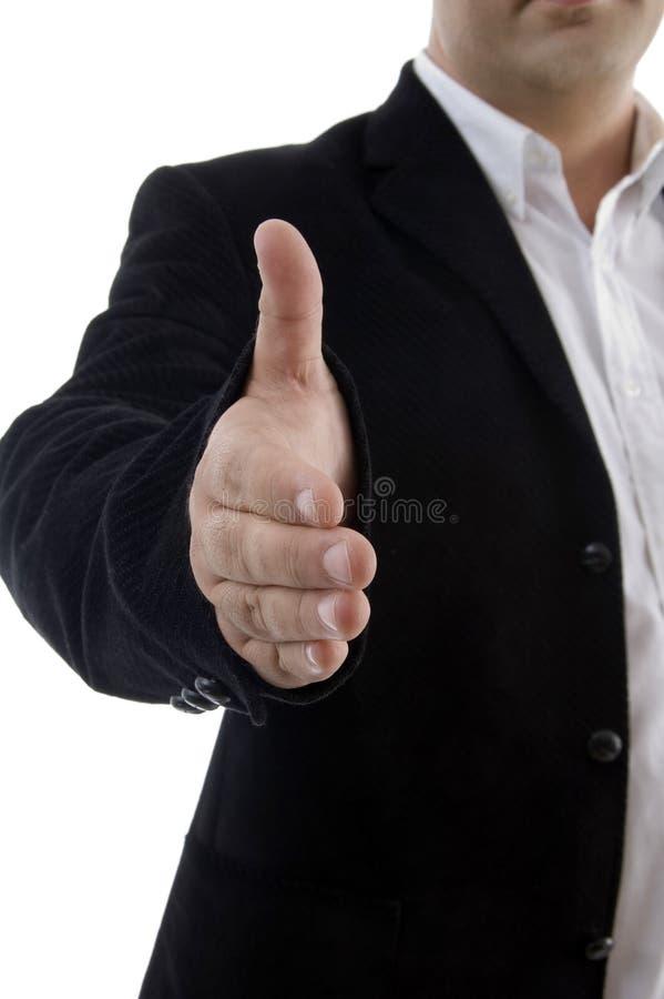 demi d'offre de longueur de prise de contact d'homme d'affaires photo libre de droits