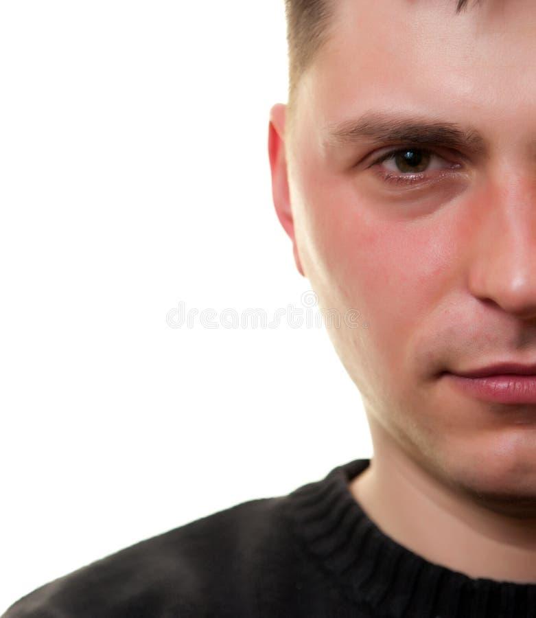 demi de blanc de visage d'homme images libres de droits