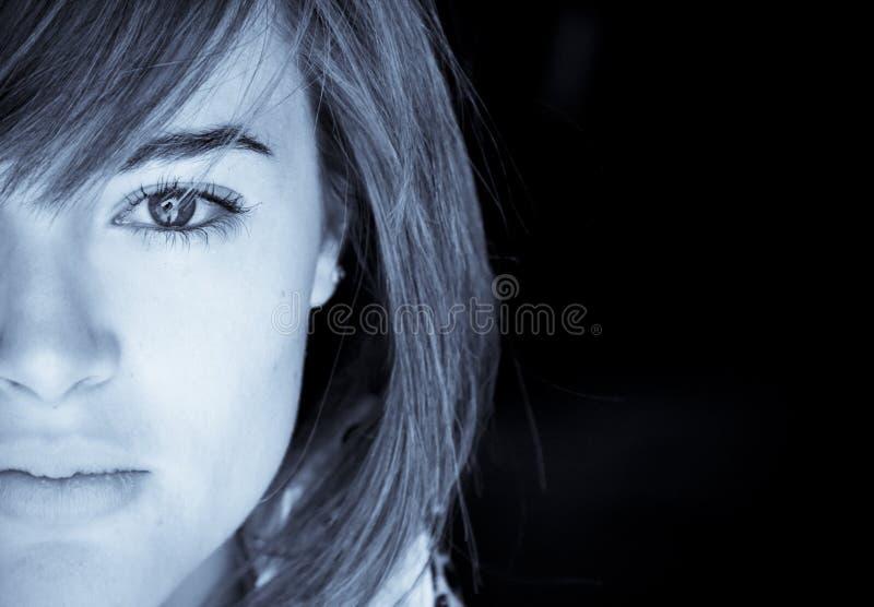 Demi de verticale de visage photographie stock libre de droits