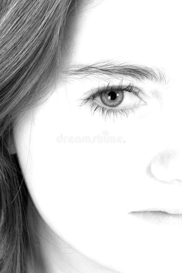 Demi de visage de beau jeune de l'adolescence photos stock