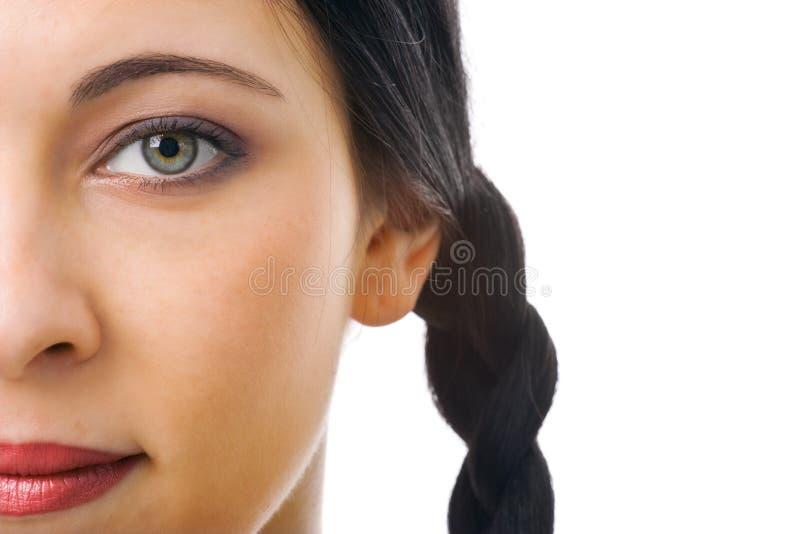 Demi de visage de femme photo stock