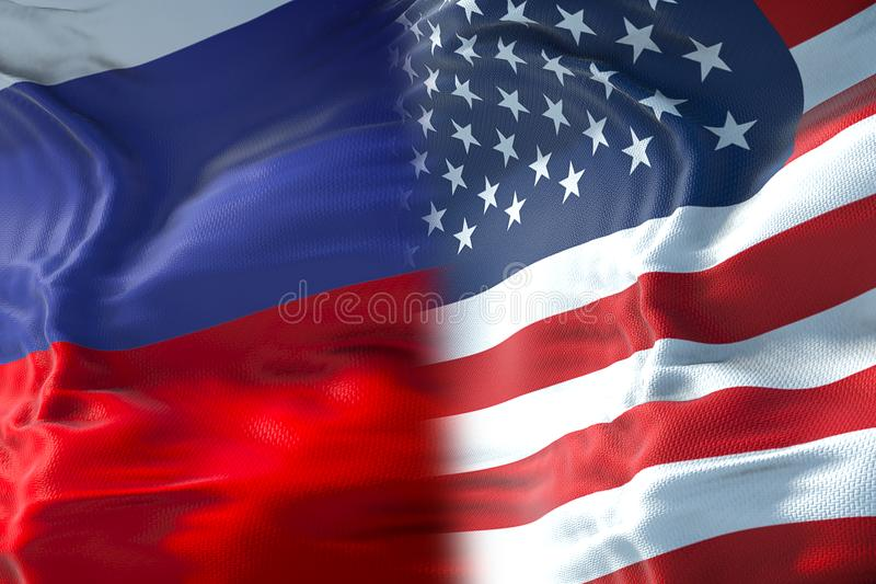 Demi drapeaux des Etats-Unis d'Amérique et demi drapeau de russa, cris illustration stock