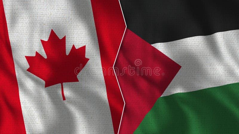 Demi drapeaux du Canada et de la Palestine ensemble photo libre de droits