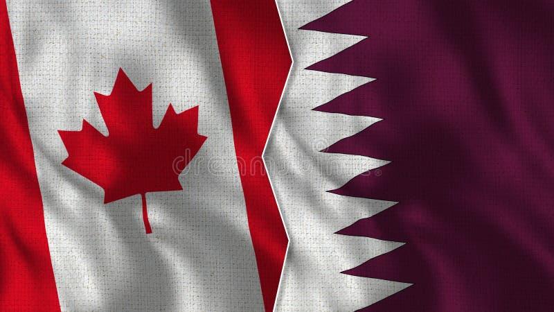 Demi drapeaux du Canada et du Qatar ensemble images libres de droits