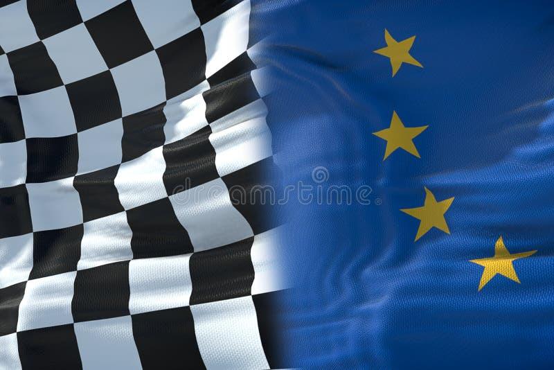 Demi drapeaux du drapeau à carreaux, de la course et de la demi Union européenne f d'extrémité illustration de vecteur