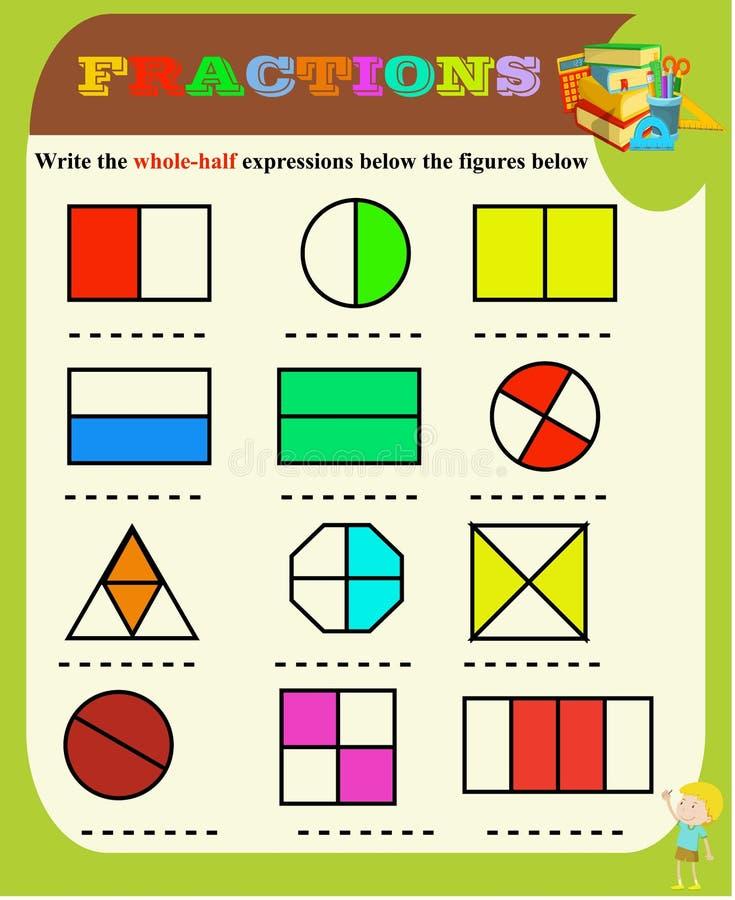Demi et entier entourez la fraction correcte, les math?matiques, fiche de travail de maths pour des enfants Fractions addition, f illustration de vecteur