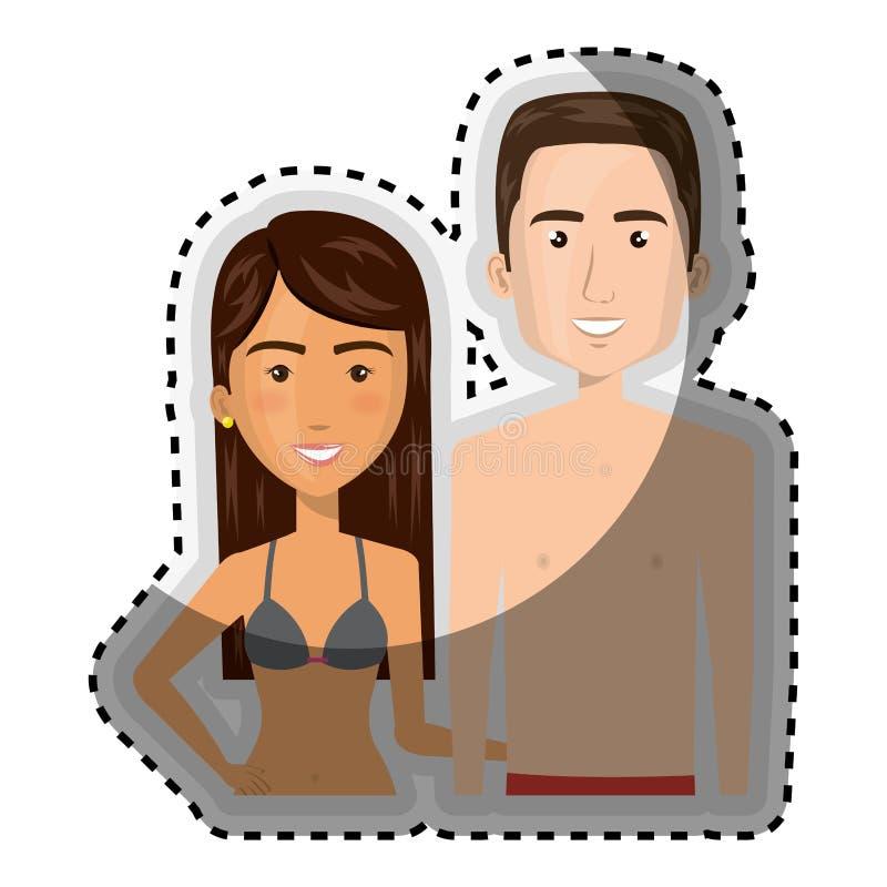 Demi femme de brune de bande dessinée de corps d'autocollant et Caucasien d'homme avec le maillot de bain d'été illustration libre de droits