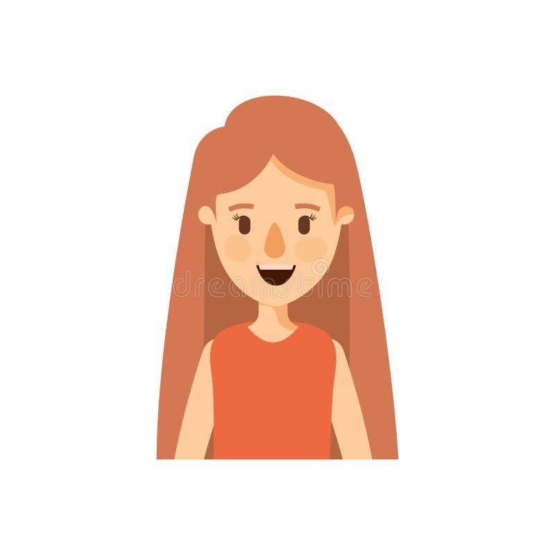 Demi femme de corps de caricature colorée avec de longs cheveux droits illustration libre de droits