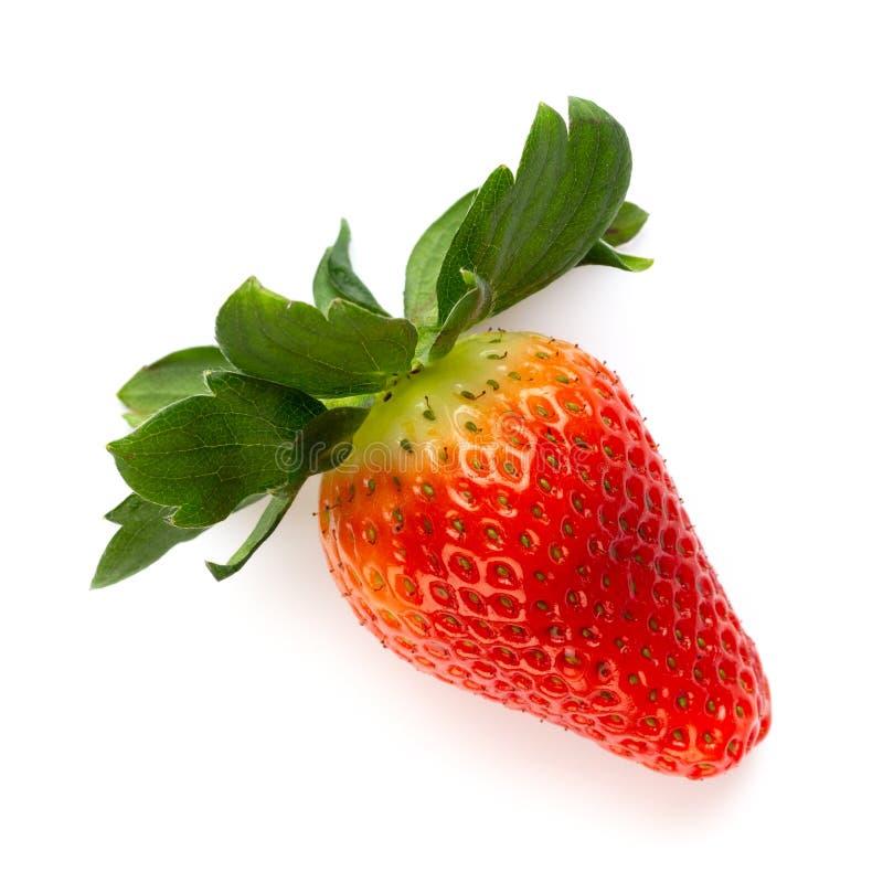 Demi fraise mûre d'isolement sur le fond blanc photos libres de droits