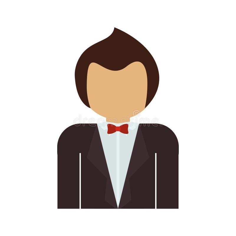 Demi homme de corps avec le costume et le bowtie formels illustration stock
