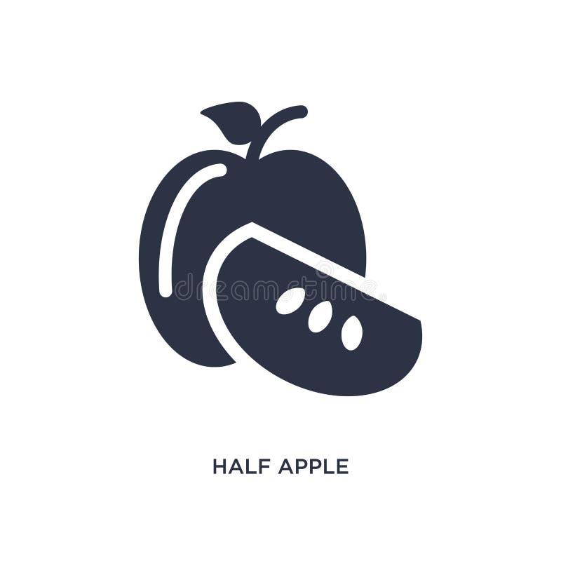 demi icône de pomme sur le fond blanc Illustration simple d'élément de concept d'écologie illustration de vecteur