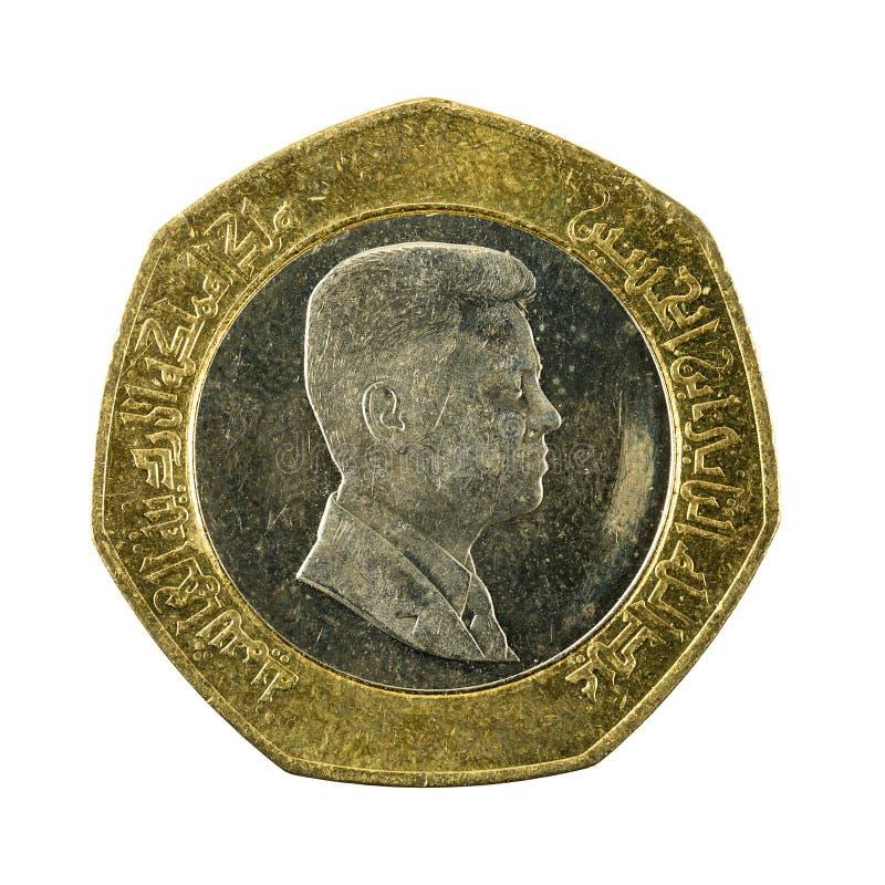 Demi inverse de pièce de monnaie de dinar jordanien d'isolement sur le fond blanc photos stock