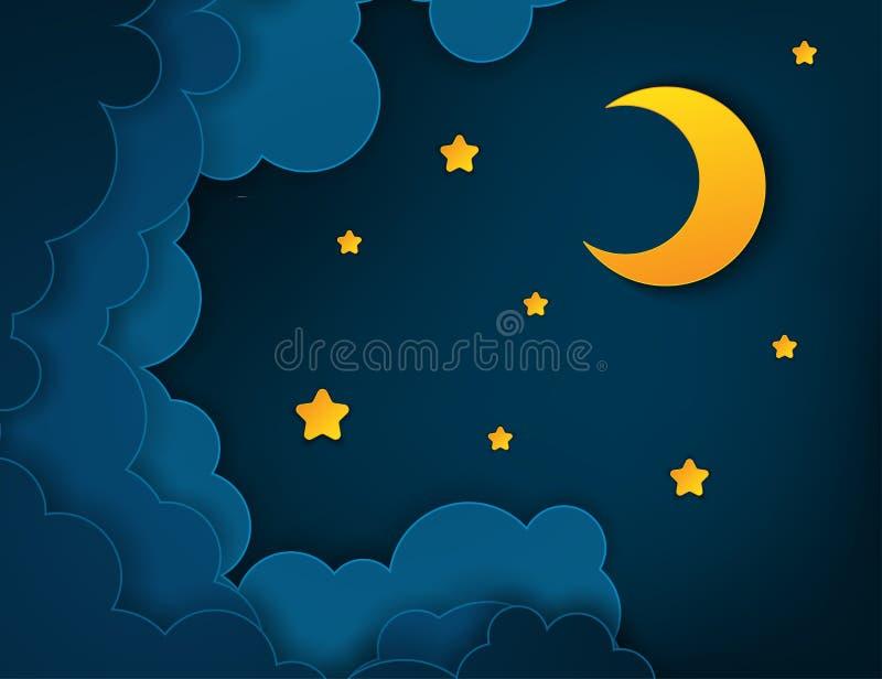 Demi-lune de papier d'art, rayons, nuages pelucheux et étoiles illustration stock