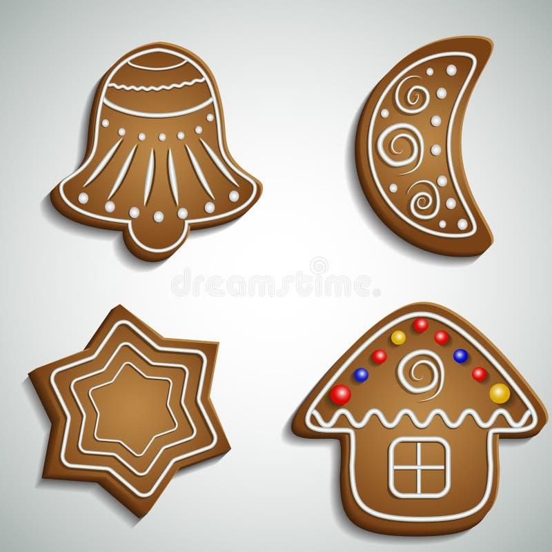 Demi-lune et maison de cloche de pain de gingembre illustration libre de droits