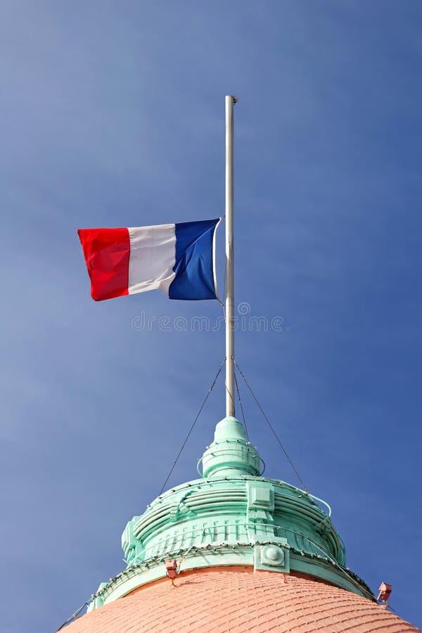 Demi mât de drapeau français photographie stock