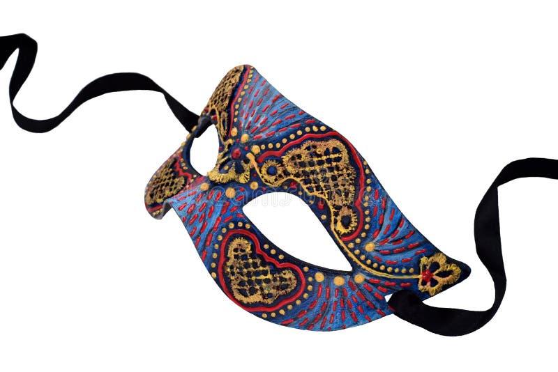 Demi masque de carnaval vénitien bleu avec le ruban d'isolement sur le fond blanc image libre de droits