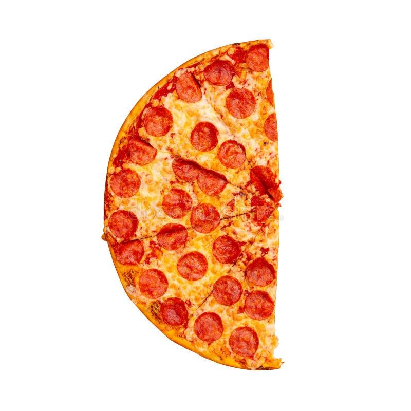 Demi pizza de pepperoni savoureuse fraîche d'isolement sur le fond blanc Vue sup?rieure photographie stock