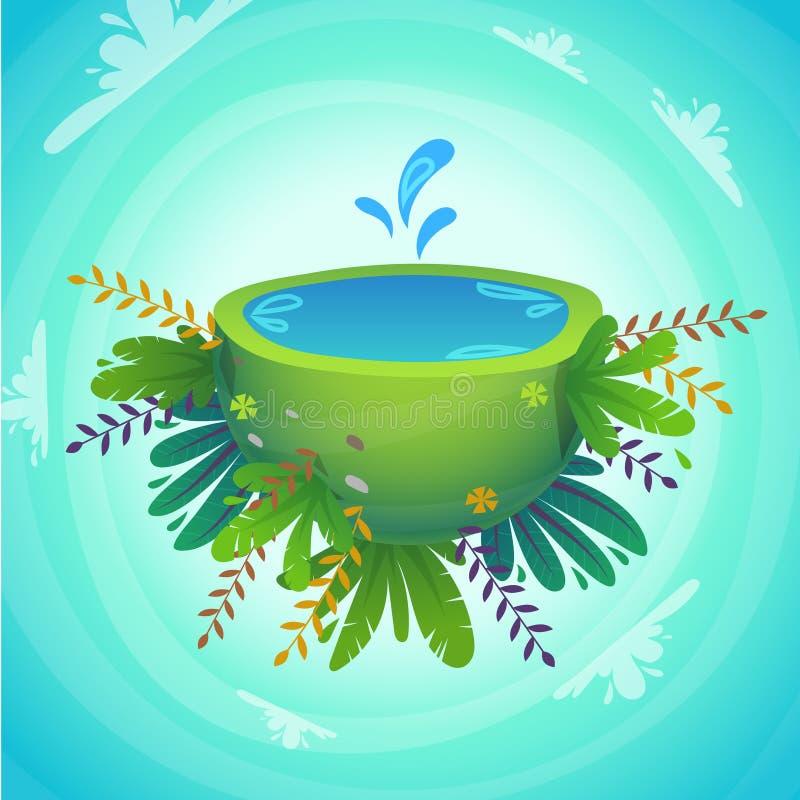 demi planète de paix verte avec des baisses d'éclaboussure de l'eau, des plantes gaies et des fleurs illustration mignonne drôle  illustration de vecteur