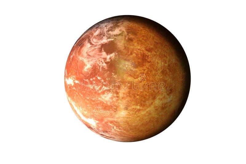 Demi planète Mars avec l'atmosphère avec la demi planète de Vénus du système solaire d'isolement sur le fond blanc La mort de la  images stock
