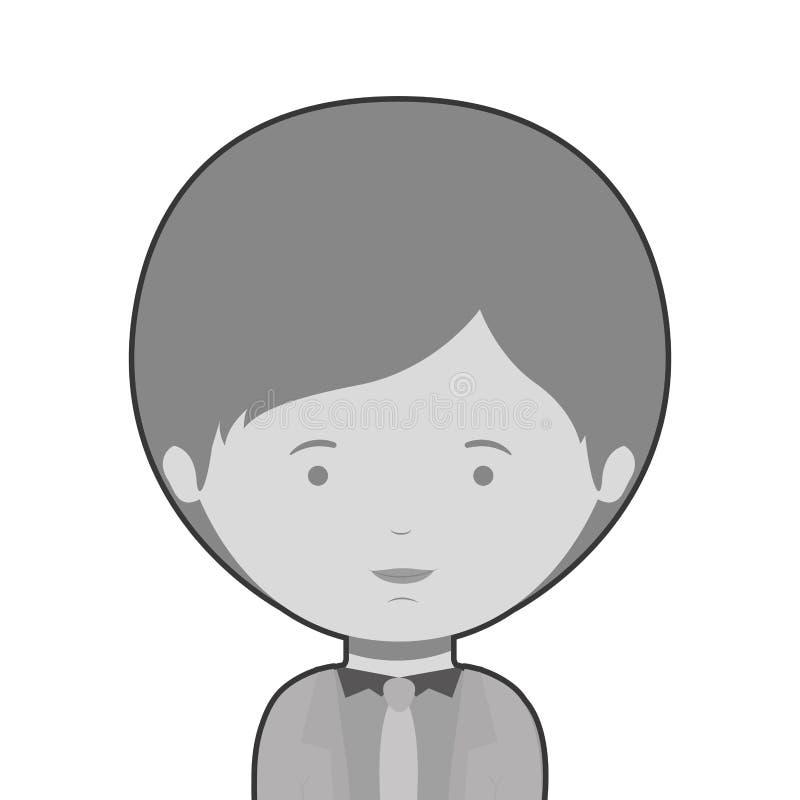 Demi style formel habillé par homme monochrome de corps illustration stock