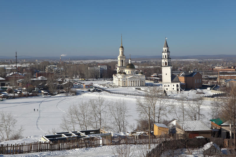 Demidov's leaning tower and the Transfiguration Cathedral. Nevyansk. Sverdlovsk region. Russia. Nevyansk - a city in the Sverdlovsk region, situated on the royalty free stock photos